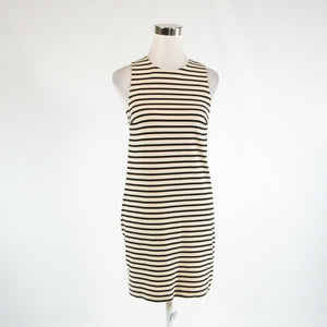 Light beige black striped 100% cotton FOSSIL stretch sleeveless sheath dress XS-Newish