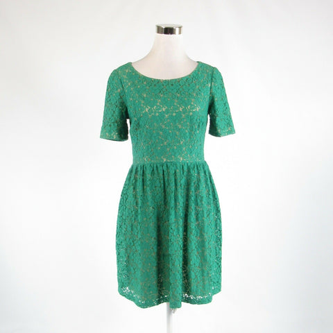 Green lace CYNTHIA ROWLEY 1/2 sleeve A-line dress 8