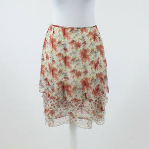 Ivory red floral print shimmery silk blend WORTH tiered bottom straight skirt 4