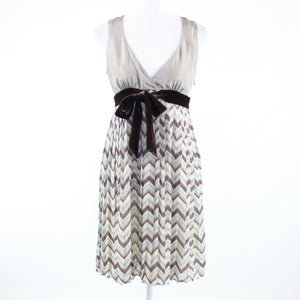 Taupe beige chevron 100% silk FOSSIL sleeveless empire waist dress S-Newish