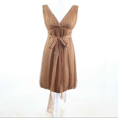 Light brown silk blend MONIQUE LHUILLIER sleeveless empire waist dress 6-Newish