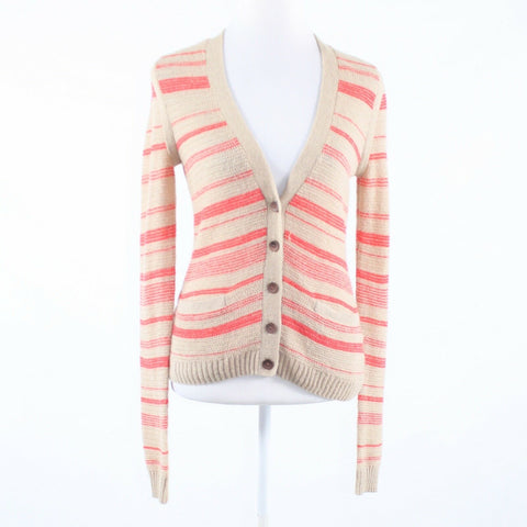 Beige orange uneven striped RACHEL ROY long sleeve cardigan sweater M