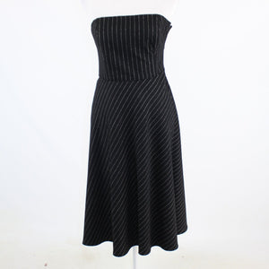 Black ivory pinstripe 100% wool BANANA REPUBLIC strapless A-line dress 6P