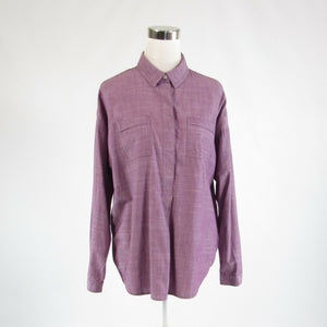 Purple chambray LANDS' END button chest long sleeve blouse M