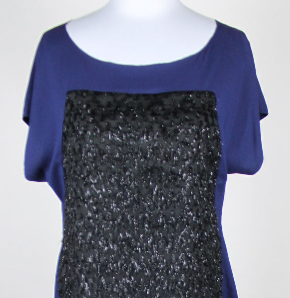 ANN TAYLOR navy blue & black short sleeve scoop neck fringed front blouse 6-Newish