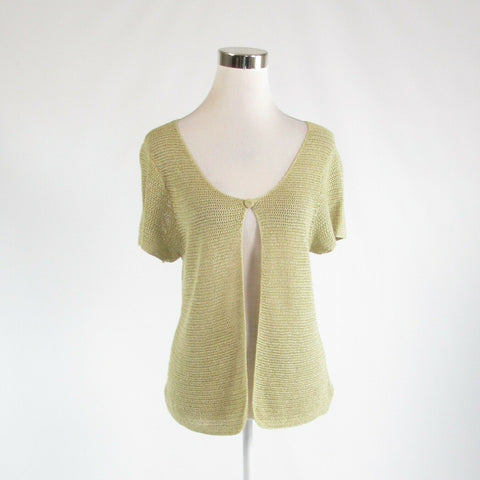 Light green beige linen blend EILEEN FISHER short sleeve cardigan sweater S