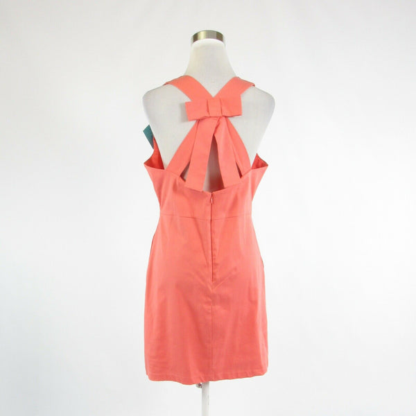 Salmon pink yellow cotton blend TRACY NEGOSHIAN sheath dress L NWT $140.00-Newish