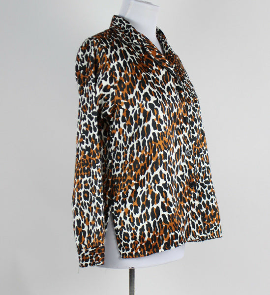 BETSEY JOHNSON black brown & white cheetah print long sleeve pajama top S-Newish