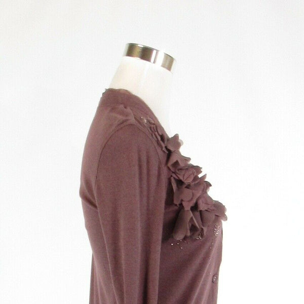 Mauve purple cotton blend ANN TAYLOR LOFT stretch long sleeve knit blouse XS