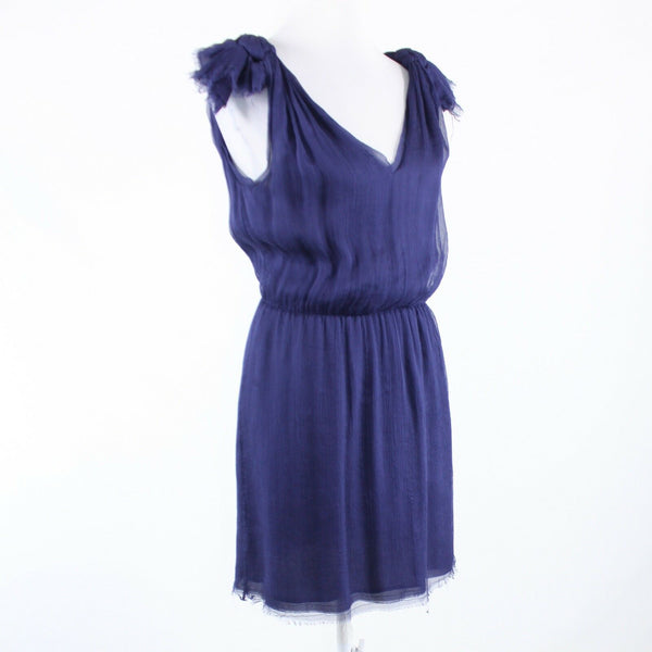 Navy blue sheer overlay 100% silk CALYPSO sleeveless sun dress S-Newish