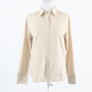 Beige white pinstripe 100% cotton ANN TAYLOR long sleeve button down blouse 10