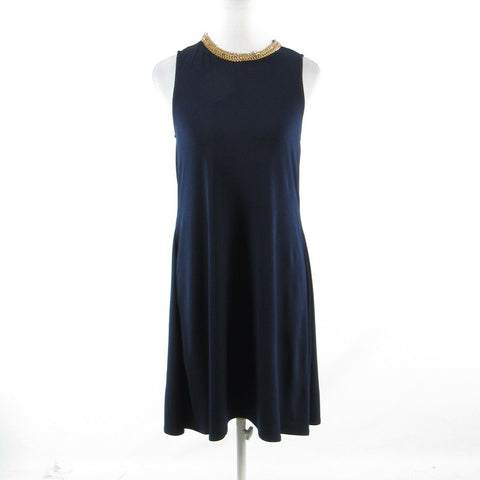 Navy blue gold CARMEN MARC VALVO stretch sleeveless shift dress XS