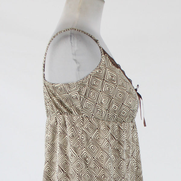 Brown ivory geometric THE LIMITED spaghetti strap V-neck brown lace trim blouse