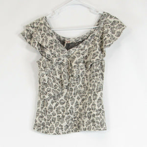 Ivory black DOLAN knit blouse XS