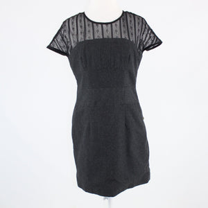 Charcoal gray TULLE black sheer lace neckline cap sleeve sheath dress L
