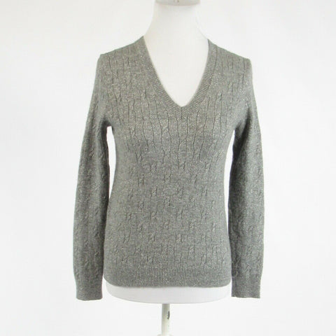 Metallic silver ANN TAYLOR LOFT shimmery long sleeve V-neck cableknit sweater S-Newish