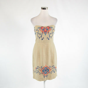 Beige blue 100% linen BANANA REPUBLIC embroidered trim sleeveless sheath dress 4-Newish