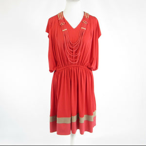 Light red RANNA GILL stretch beaded cap sleeve blouson dress L