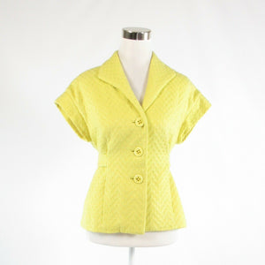 Light yellow cotton blend BETH BOWLEY short sleeve blazer jacket 6