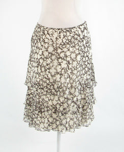 Light beige gray floral print 100% silk ANN TAYLOR tiered skirt 8 NWT $99.00