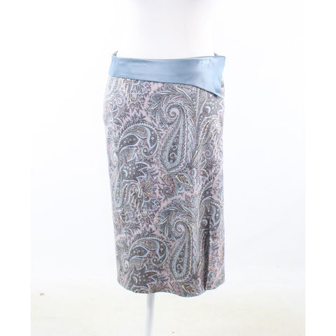 Light blue pink paisley cotton blend WILLIAM B stretch pencil skirt 4