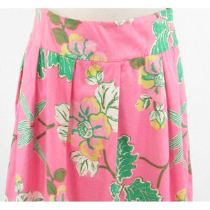 Pink green floral print cotton blend NOTICE stretch A-line skirt 10