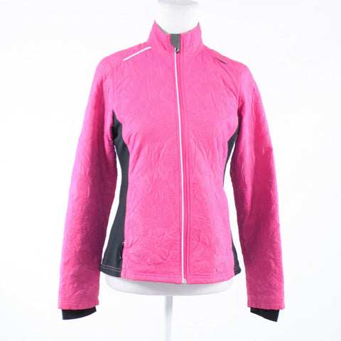 Bright pink black textured SAUCONY long sleeve fleece jacket S
