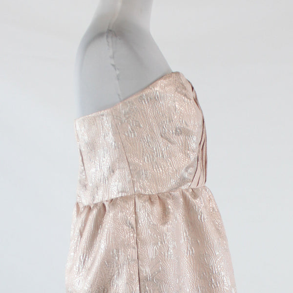 Light pink silver metallic floral TULLE sheath strapless above knee dress L NWT