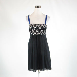 Black white satin ANTHROPOLOGIE LEIF NOTES sleeveless hi-lo dress 10