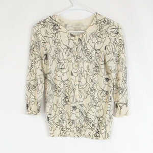 Light beige black floral print 100% cotton ANN TAYLOR LOFT cardigan sweater PXS