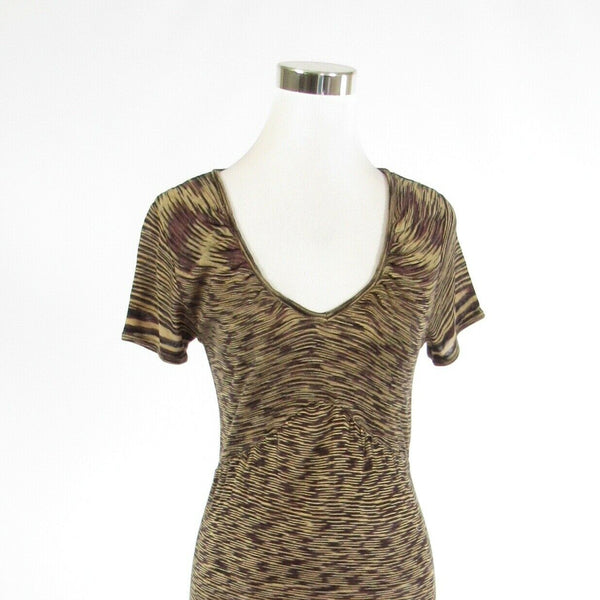 Beige brown space dyed BETTE PAIGE stretch short sleeve sheath dress L