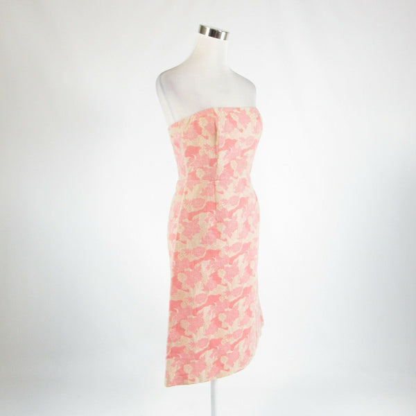 Pink beige abstract cotton blend TIBI shimmery sleeveless A-line dress 6