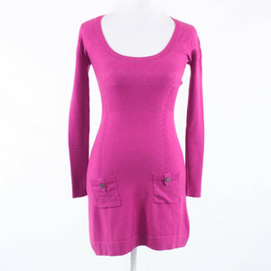 Fuchsia pink stretch wool blend KAREN MILLEN long sleeve sheath dress 1