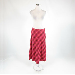 Maroon red pink diagonal striped linen blend BROOKS BROTHERS A-line skirt 10