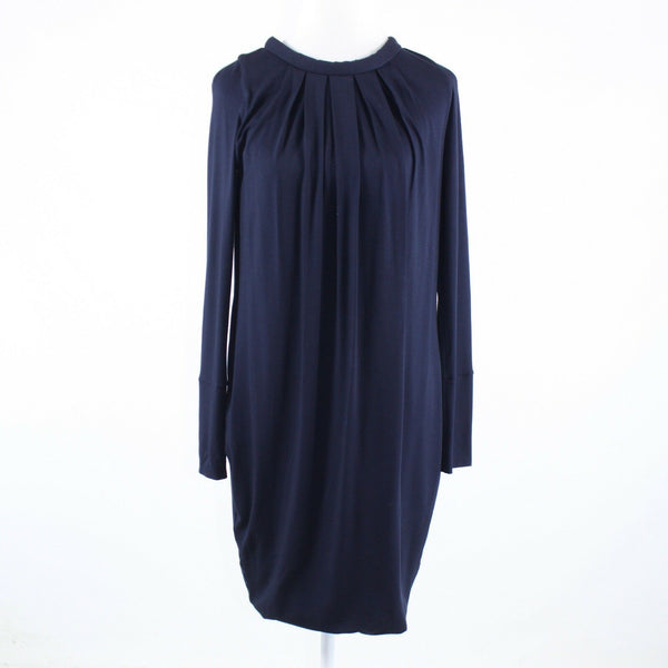 Navy blue stretch GIO GUERRERI long sleeve shift dress IT42 8-Newish