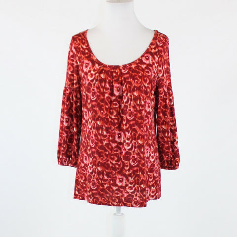 Maroon red white abstract floral cotton blend TALBOTS 3/4 sleeve blouse M