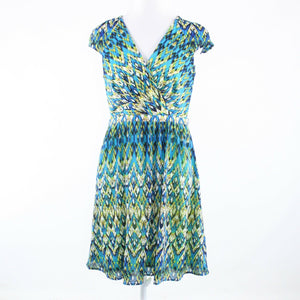 Turquoise blue white geometric ANDREW MARC cap sleeve A-line dress 8-Newish