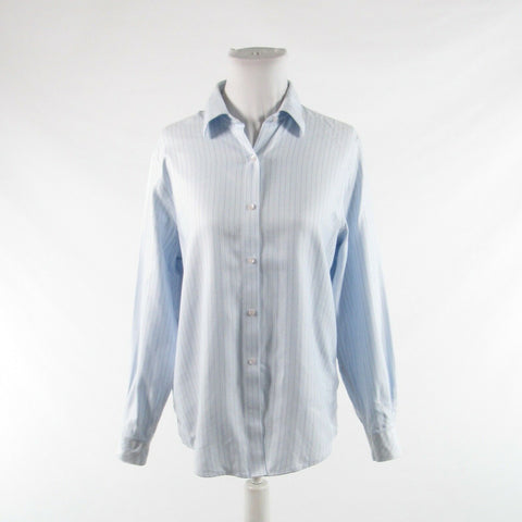 Light blue herringbone cotton TALBOTS long sleeve button down blouse 8