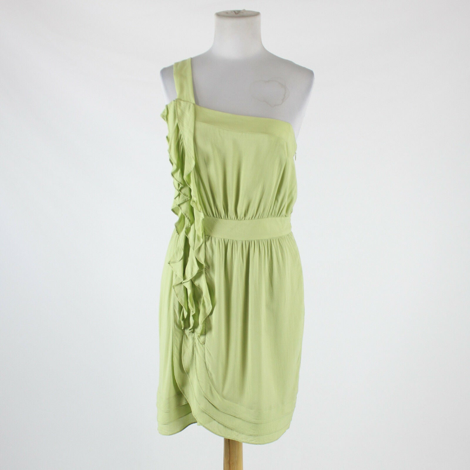 Light green rayon BCBGENERATION one shoulder above knee ruffled trim dress 8-Newish