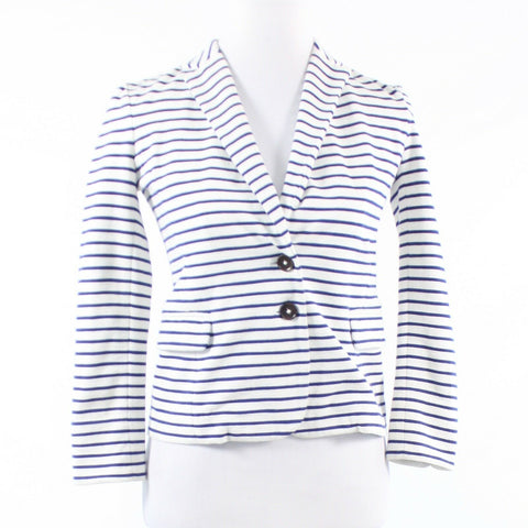 White blue pinstripe cotton blend J. CREW 3/4 sleeve jacket XXS
