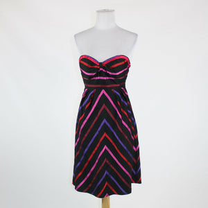 Black pink maroon orange striped GUESS JEANS strapless knee-length dress 3 4