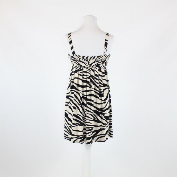 Black ivory zebra stretch NEW DIRECTIONS thin strap v-neck sun dress 4