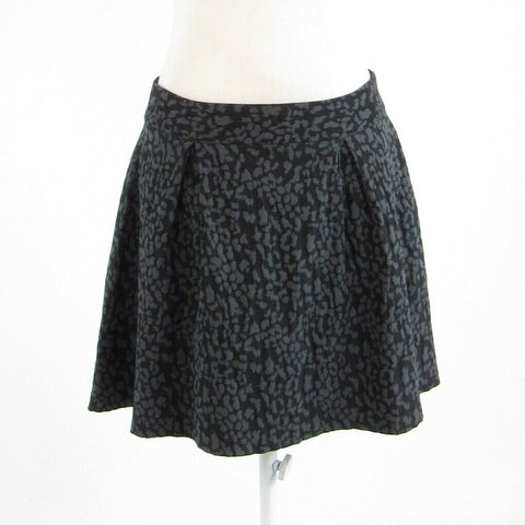 Black gray cheetah BANANA REPUBLIC stretch A-line skirt 8