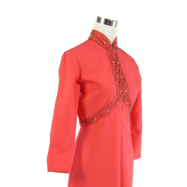 Pink 3/4 sleeve beaded trim vintage A-line dress M-Newish