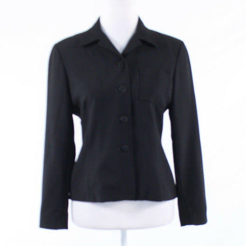 Black 100% wool Oscar by OSCAR DE LA RENTA long sleeve blazer jacket 4P