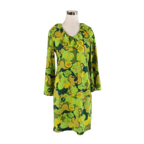 Light green beige floral ruffled collar vintage shift dress S-Newish