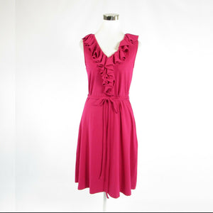 Fuchsia pink 100% cotton LAUREN RALPH LAUREN stretch sleeveless A-line dress M