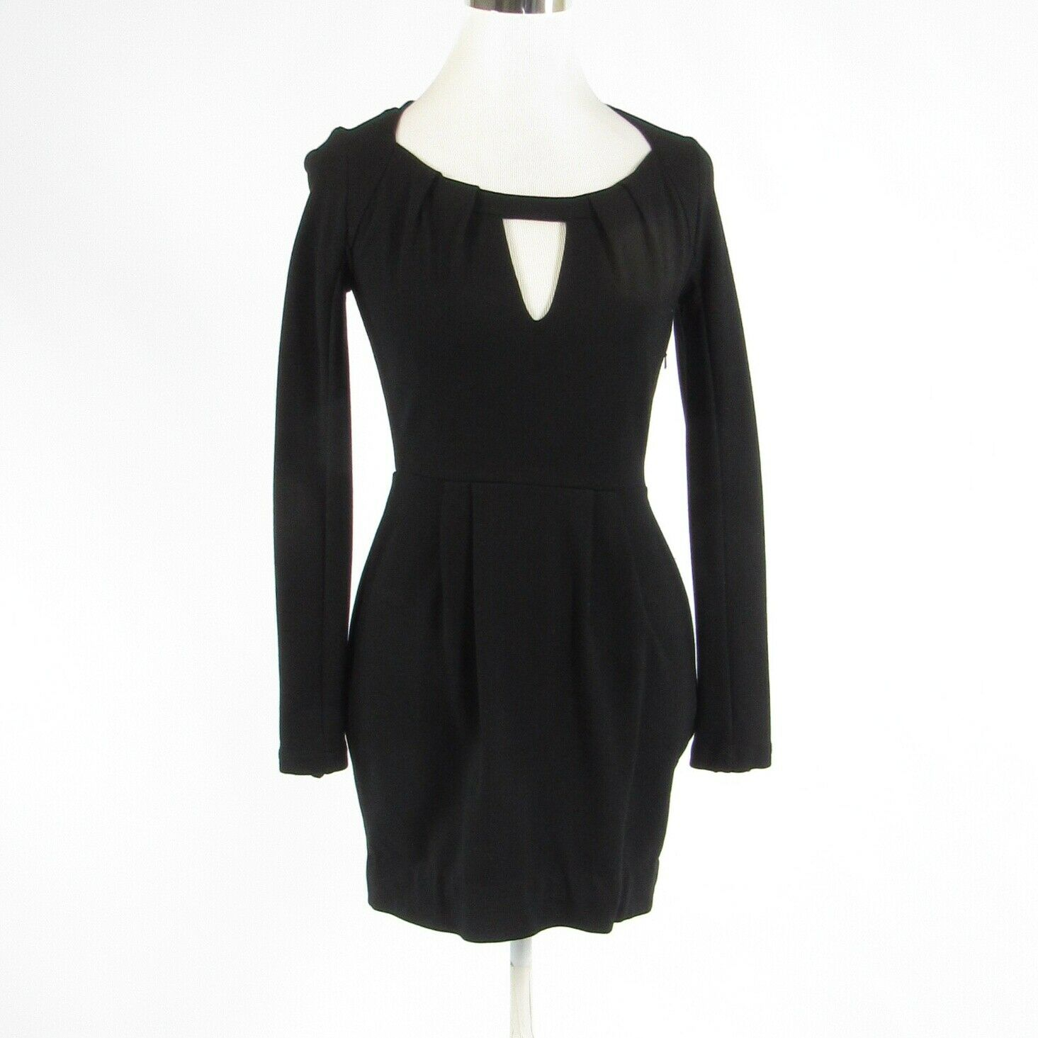 Black cotton blend FRENCH CONNECTION stretch long sleeve sheath dress 4 36-Newish