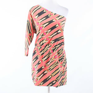 Coral orange black geometric 100% silk TIBI one shoulder 3/4 sleeve dress 4