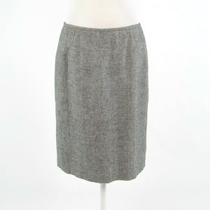 Black ivory linen blend CALVIN KLEIN pencil skirt 6